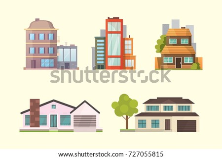 Set different styles residential houses city stock vector for Residential house styles
