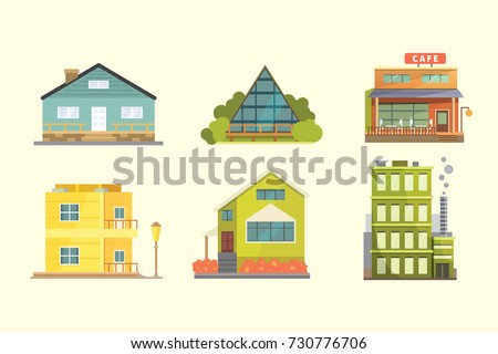 Set Different Styles Residential Houses City Stock Vector