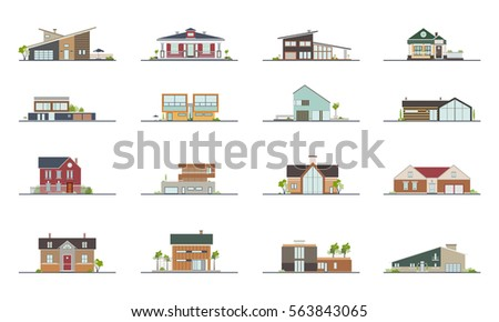 Set Different Styles Residential Houses Colorful Stock Vector