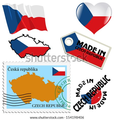 set of different symbols in national colours of Czech Republic - stock vector