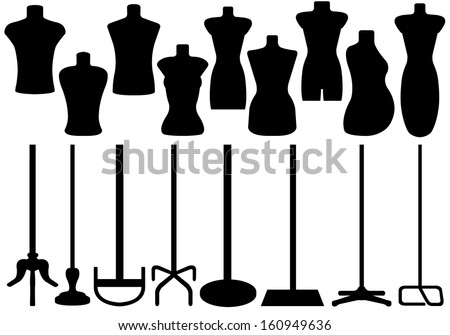 Set of different tailor's mannequin - stock vector