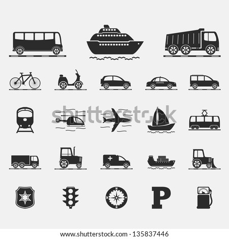 Set of different transport icons, vector eps10 illustration - stock vector