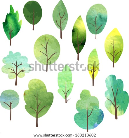 set of different trees painted by watercolor, vector illustration - stock vector