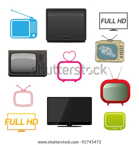 Set of different tv. Vector illustration. - stock vector