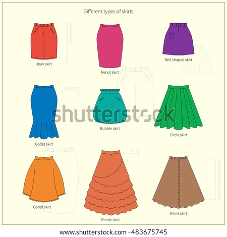 Set Different Types Bright Colorful Skirts Stock Vector ...