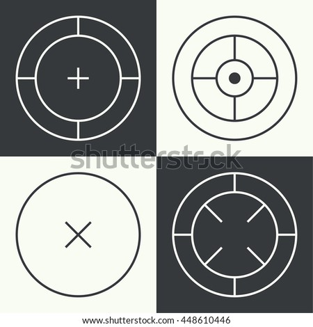 Set of different types of crosshair. Vector icon simple target. icons. Aims templates. Shooting marks and cross hairs.