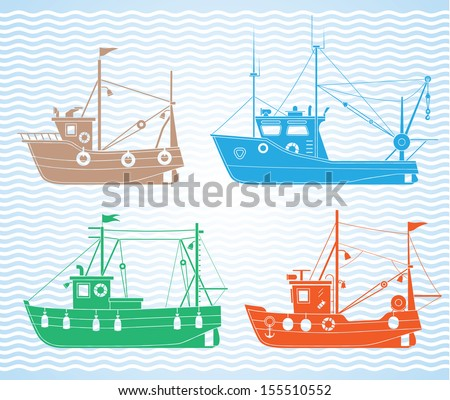 Set of different types of fishing boats - stock vector