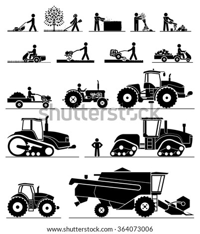 Set of different types of gardening and agricultural vehicles and machines. Mower, trimmer, saw, cultivator, tractors, harvesters, combines and excavators. Icon set of working machines. - stock vector