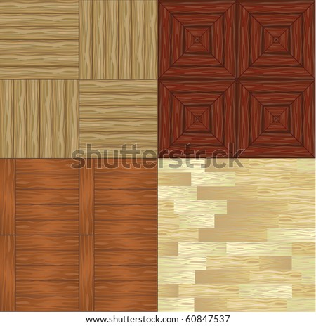 Set of different types of seamless backgrounds of wooden parquet floor - stock vector