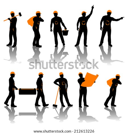 set of different types of workers. all in black and oranfe color - stock vector