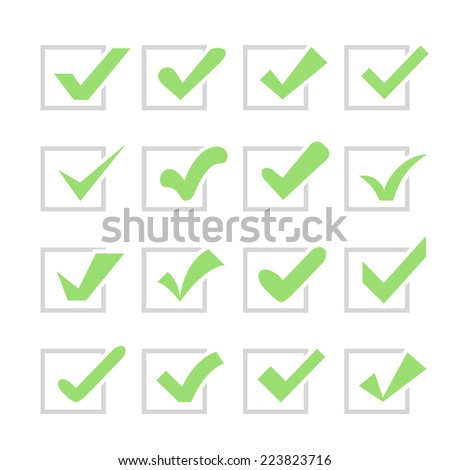 Set of different vector check marks or ticks in boxes. Confirmation acceptance positive passed voting agreement true or completion of tasks on a list. Green and grey colors. - stock vector