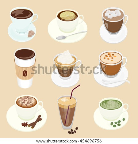 Set of different Vector Coffee cup and many kinds of coffee for cafe restaurant menu - stock vector