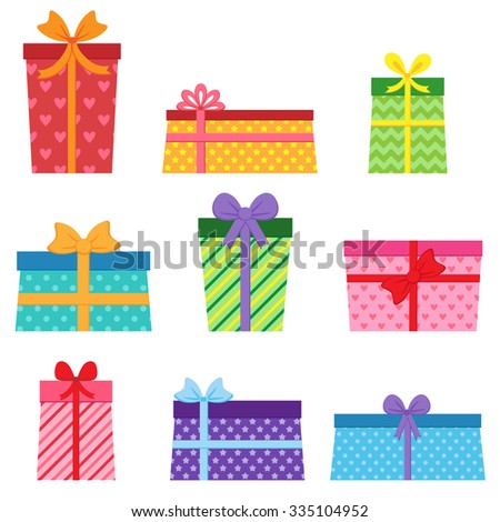 Set of different vector colorful present boxes - stock vector