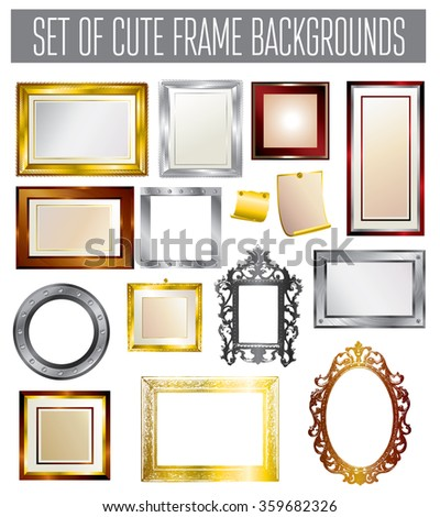 Set of different vector frames - vintage and modern style - stock vector