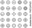 Set of 25 different vector highly detailed crosshairs. - stock photo