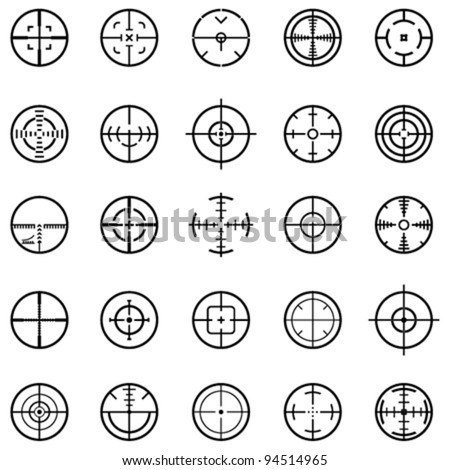Set of 25 different vector highly detailed crosshairs.