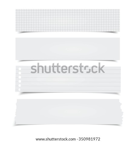 Set of different vector horizontal note papers.  - stock vector