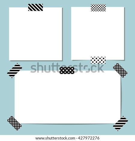 Set of different vector paper stickers with scotch tape. Collection of note papers - stock vector