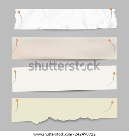 Set of different vector paper stripes with pins. - stock vector