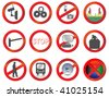 Set of Different vector prohibition and attention signs - stock vector