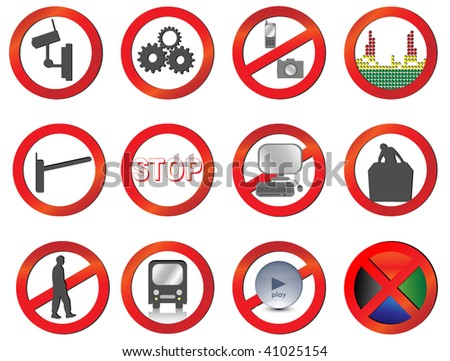 Set of Different vector prohibition and attention signs