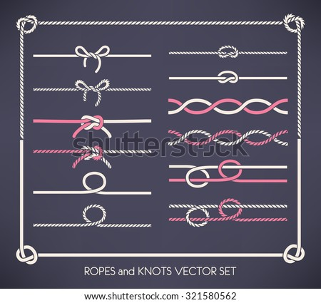 Set of different vector ropes and knots  - stock vector
