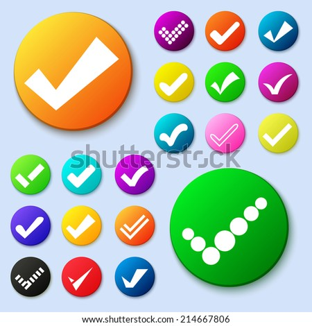 Set of different vector simple circle shape internet button with check mark or tick. Confirmation acceptance positive passed voting agreement true or completion of tasks on a list. Web design elements - stock vector