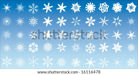 Set of 40 different vector snow flake designs - stock vector