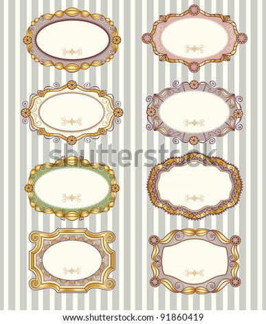 Set of 8 different vintage vector labels and frames with empty space for text.