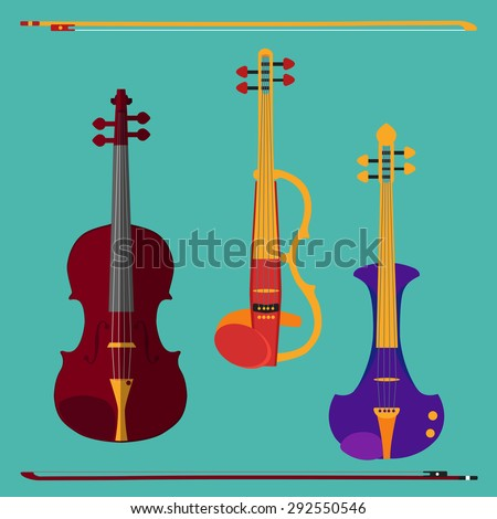 Set of different violins. Classical violin, electric violin with bows. Isolated musical instruments on teal background. Vector illustration in flat style design.  - stock vector