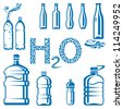 set of different water bottles - stock vector