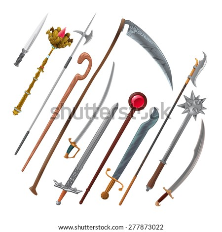Set of different weapons. Vector isolated objects - stock vector