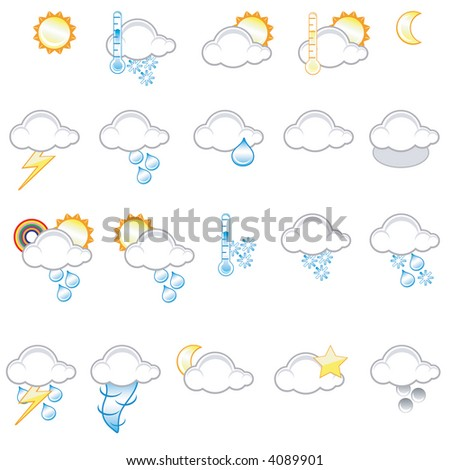 Set of different weather icons