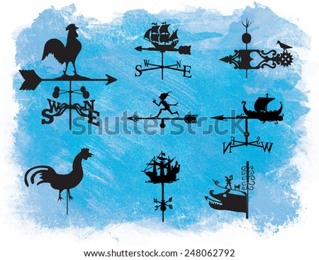 Set of different weather vanes.Vector illustration. On a watercolor - stock vector