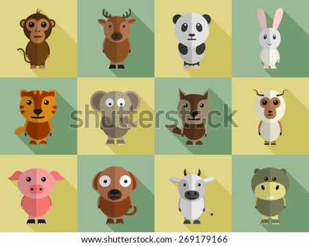 Set of different wild and domestic animals cartoon characters. - stock vector