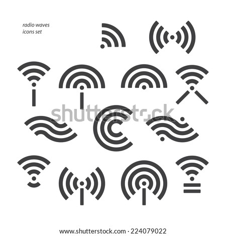 set of different wireless and wifi symbols. vector radio waves icons - stock vector