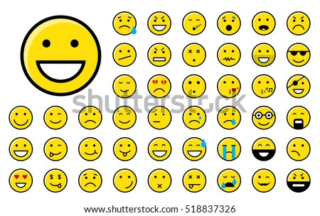 Set of different yellow smiley icons