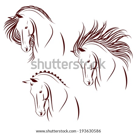 Set of 3 differently stylized horse heads - stock vector