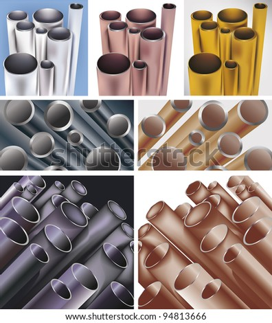 set of difrent colors pipes - stock vector