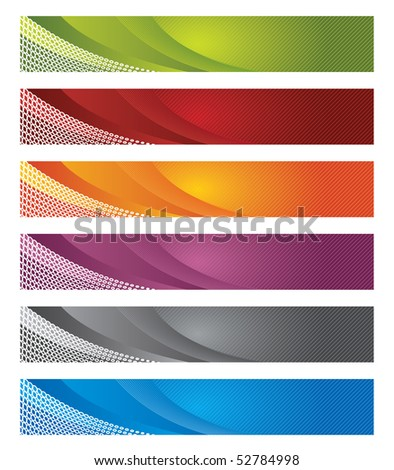 Set of digital banners in gradient and lines - stock vector