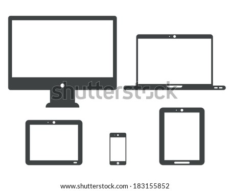 Set of digital devices with white blank screens. Computer monitor, netbook, notebook,  laptop, tablets, smartphone. Vector icons. - stock vector