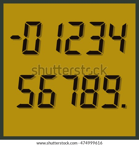 Set of digital number signs, vector template in realistic style