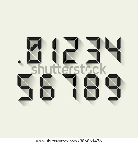 Set of digital numbers in a flat design, each digit separately. Vector