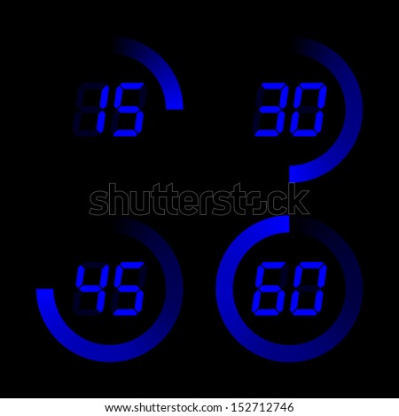 Set of digital stopwatches. blue electronic timers