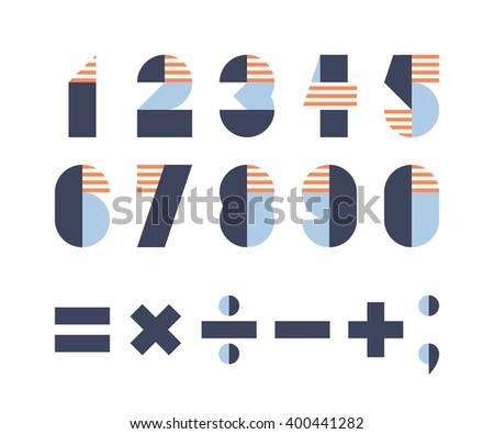 Set of digits and mathematical signs  - stock vector