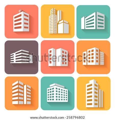 Set of dimensional buildings  colored icons in white with shadow depicting high-rise commercial buildings  office blocks and residential apartments  - stock vector