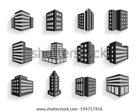 Set of dimensional buildings icons in grey and white with shadow depicting high-rise commercial buildings  office blocks and residential apartments - stock vector