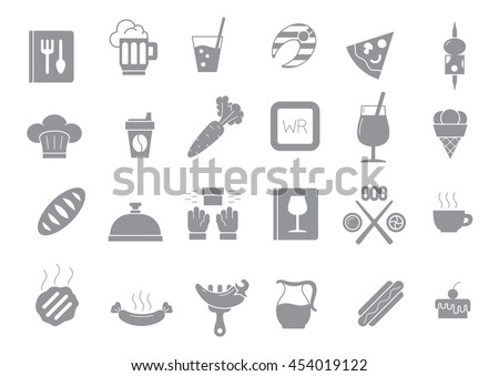 Set of 24 Diner gray vector icons
