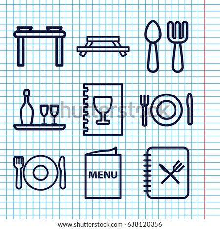 Set of 9 dining outline icons such as plate fork and spoon, fork and spoon, menu