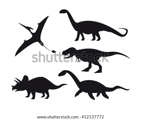 Set of dinosaur silhouettes isolated on white background. Vector illustration. - stock vector